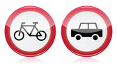Car and bike icons road signs — Stock Vector