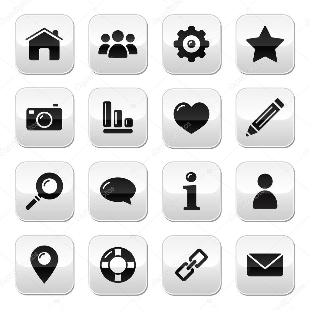 Glossy modern clean square buttons for the web navigation ...
