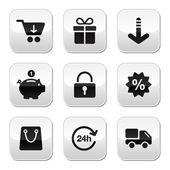 Nakupování tlačítek pro webové stránky, online obchod — Stock vektor