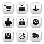 Shopping buttons for website, online store — Vettoriale Stock