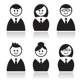 Business icons set, avatars — Stock Vector