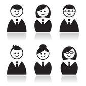 Business icons set, avatars — Stock Vector
