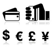 Payment methods icons set - credit card, by cash - currency. — Stockvector