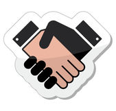 Agreement handshake icon - label — Stock Vector