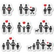 Icons - family, baby, pregnant woman, couples — Stock Vector #11572840