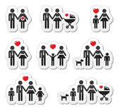 Icons - family, baby, pregnant woman, couples — Stock Vector