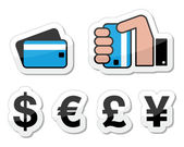 Shopping, payment methods, currency icons — Stock Vector