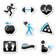 Stock Vector: Health and fitness icons set