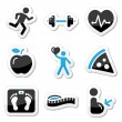 Health and fitness icons set — Stock vektor