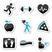 Health and fitness icons set — Vector de stock