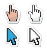 Pixel cursors icons - hand and arrow — Stock Vector