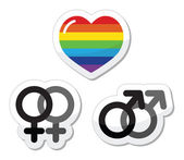 Gay couple, gay love icons set — Stock Vector