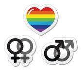 Homosexuální pár, gay láska ikony nastavit — Stock vektor