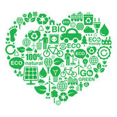 Eco heart background - green ecology — Stock Vector