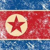 North Korea retro flag — Stock Vector