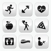 Keep fit and healthy icons on glossy buttons — Stock Vector