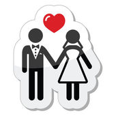 Wedding couple icon as glossy label — Stock Vector
