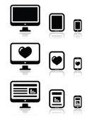 Responsive website design - computer screen, mobile, tablet icons set — Stock Vector