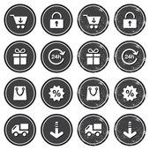 Zakupy w Internecie retro odznaki - grunge style — Wektor stockowy