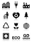 Green ecology icons set — ストックベクタ