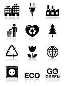 Set di icone verdi ecologia — Vettoriale Stock