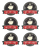 Buy 1 Get 1 Free retro grunge badges set — Stock Vector