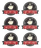 Comprar 1 obtener 1 gratis grunge retro insignias establecer — Vector de stock
