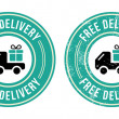 Free delivery retro grunge badge — Stock Vector