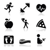 Health and fitness black clean icons set — Stok Vektör