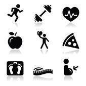 Zdraví a fitness sada černé čisté ikony — Stock vektor