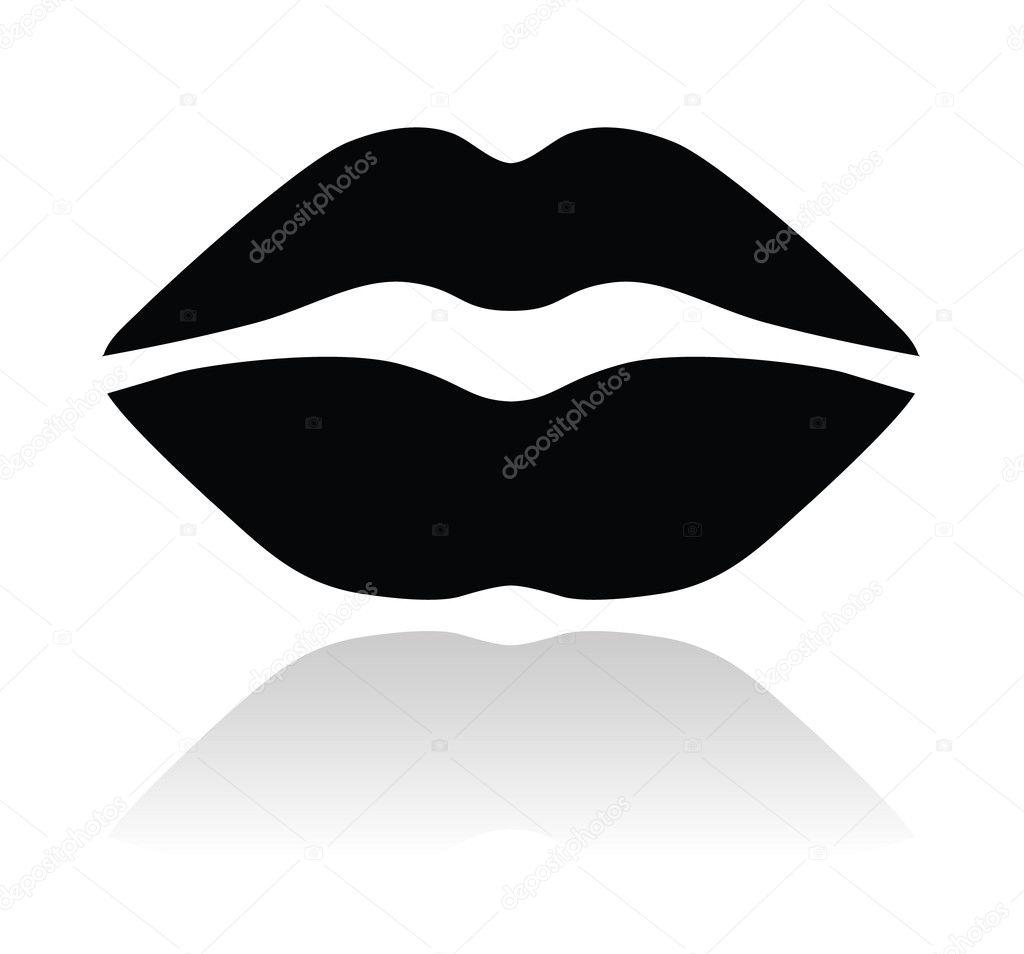 Lips Vector Black Lips black glossy icon...
