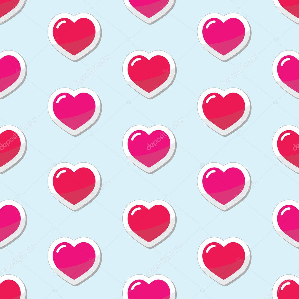 Red and pink hearts on blue background wallpaper — Stock Vector #12244721