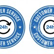24h customer service retro badges - Stock Vector