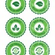 Green 100% organic natural eco product retro labels - Imagen vectorial