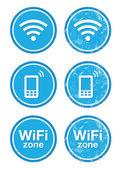 Wifi internet zone blauwe vintage etiketten instellen — Stockvector