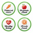 Organic food, fresh and natural products icons on green buttons — Stock Vector