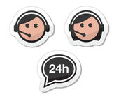Customer service icons set, labels - call center assistants — Stock Vector