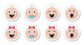 Baby boy, baby girl face - crying, with soother, smile icons — Stock Vector