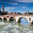 River adige crosses verona - Stock Photo