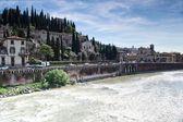River adige crosses verona — Stock Photo