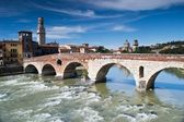 River adige crosses verona — Stock Photo