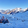 Mountain camp in the Himalayas at sunrise — Stock Photo