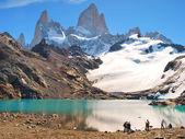 Paesaggio montano con mt fitz roy in patagonia, sud america — Foto Stock