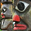 Totem Poles in British Columbia, Canada - Stock Photo