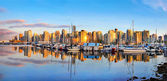 Vancouver skyline panorama at sunset — Stock Photo