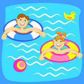 Pool with children — Stock Vector