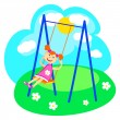 Girl and swings — Stock Vector
