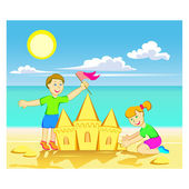 Sand castle — Stock Vector