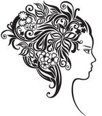 Girl with a beautiful flowers in her hair — Stock Vector