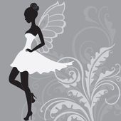 Silhouette of beautiful fairy — Stock Vector